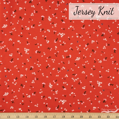 Vanessa Lillrose & Linda Fitch for Robert Kaufman, Cheery Blossom Jersey Knits, Cherries and Blooms Ladybug