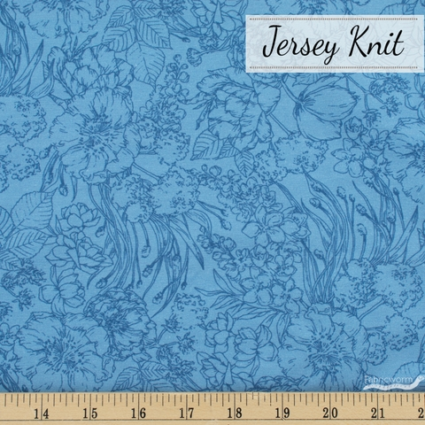 Vanessa Lillrose & Linda Fitch for Robert Kaufman, Nature's Notebook Jersey Knit, Floral Outlines Blueberry