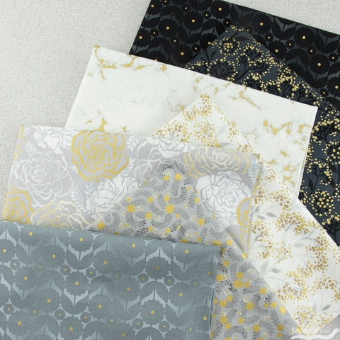 Vanessa Lillrose & Linda Fitch for Robert Kaufman, Silverstone, Hints of Gold Bundle 7 Total