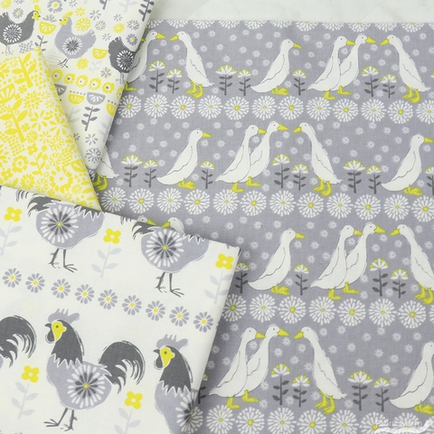 Vicky Yorke for Camelot Fabrics, Village Life, Hens Grey