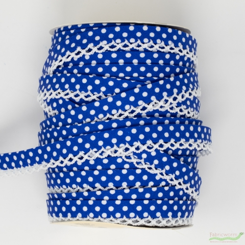Vintagedoor, Crochet Edge Double Fold Bias, Dots Blue