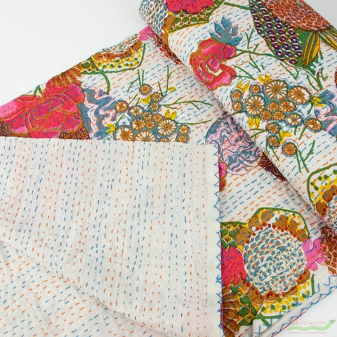 Whistler Studios for Windham, Hand Embroidered Kantha, Floral White/ Multi