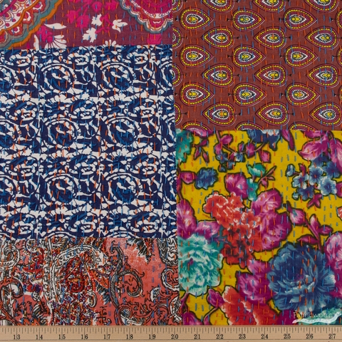Whistler Studios for Windham, Hand Embroidered Kantha, Patch Red Multi