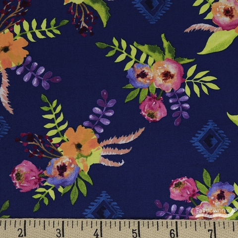 Whistler Studios for Windham, Wanderer's Weekend, Floral Bouquet Navy