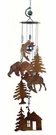 "24"" Rustic Cabin Wind Chime, Bear, Moose, Fish, Pine Trees"