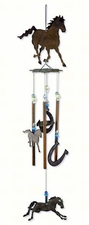 "28"" Rustic Western Wind Chime, Horses, Horseshoes, Horsing Around"