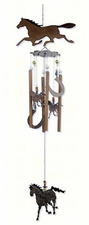 "36"" Rustic Western Wind Chime, Horses, Horseshoes, Horsing Around"