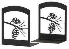 Bookends, Wrought Iron, Pine Cones