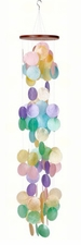 Capiz Shell Wind Chime, Waterfall Rainbow, Woodstock Chimes