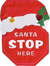Christmas Garden Flag, Santa Stop Here Sign, Double Sided Applique