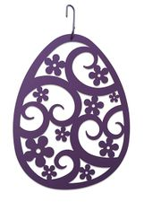 Easter Egg Silhouette, Hanging Art, Purple, Wrought Iron