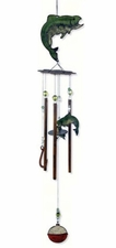 Fish Wind Chime, Rustic, Hooks, Bobber, Metal, Catch of the Day