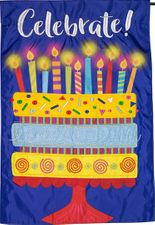 Garden Flag, Celebrate, Happy Birthday, Cake, Candles, Double Sided Applique