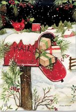 Garden Flag, Christmas Delivery, Mailbox, Gifts, Presents, Cardinal
