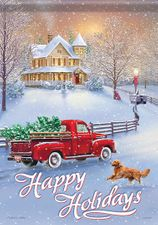 Garden Flag, Christmas Holidays at Home, Red Truck, Dog, Tree