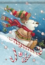 Garden Flag, Christmas, Polar Bear JOY Ride, Peppermint Sled