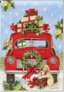 Garden Flag, Christmas, Puppies, Red Truck, Americana, Presents
