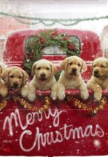 Garden Flag, Christmas, Red Truck with Lab Puppies, Merry Christmas