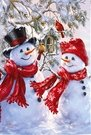 Garden Flag, Christmas, Snowman Couple, Snow Sweethearts