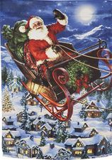 Garden Flag, Delivering Christmas, Santa Claus, Sleigh, Double Sided