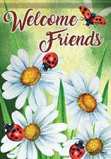 Garden Flag, Happy Ladybugs and Daisies, Welcome Friends, Double Sided