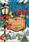 Garden Flag, Hometown Christmas, Lamppost, Cardinals, Sign