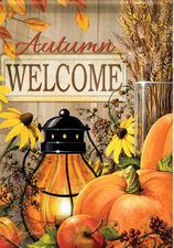 Garden Flag, Lantern Welcome, Pumpkins, Autumn / Fall, Double Sided