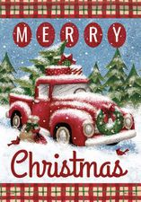 Garden Flag, Merry Christmas, Holiday Red Truck, Snow, Double Sided