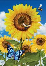 Garden Flag, Sunflowers, Butterfly, and Bees, Americana