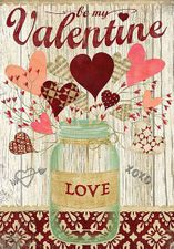 Garden Flag, Valentine's Day, Lovely Hearts, Mason Jar