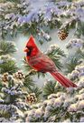 Garden Flag, Winter, Snowy Cardinal