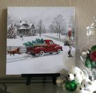 LED Canvas Holiday Wall Decor, Vintage Red Truck, Christmas Tree, Dog