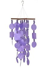 Purple Capiz Chime with Wooden Beads, Woodstock Chimes