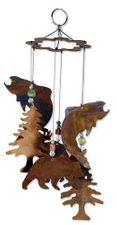Rustic Fish, Bear, Moose, Pine Trees Wind Chime, Metal, Catch of the Day