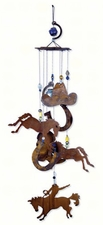 Rustic Wind Chime, Horses, Horseshoes, Bronco, Cowboy Hat, Horsing Around