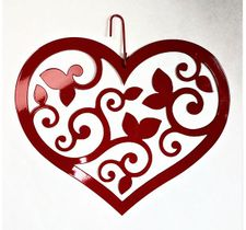 Scrolled Heart Silhouette, Hanging Art, Red, Wrought Iron