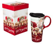 Travel Cup, Lab Puppies, Red Truck, Merry Christmas, Matching Gift Box