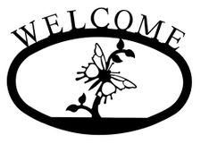 Welcome Sign, House Plaque, Butterfly, Wrought Iron, Small