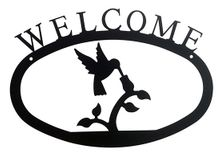 Welcome Sign, House Plaque, Hummingbird, Wrought Iron, Large
