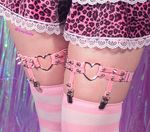 Heart Ring Leg Garter - Pink - Pair