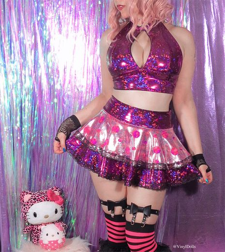 Holographic Fuchsia Polka Dot Skirt