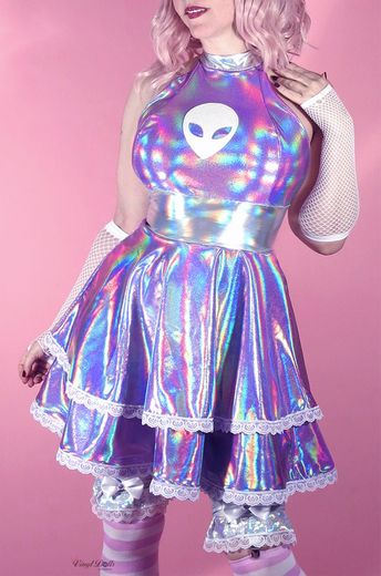 Holographic Lavender Alien Dress