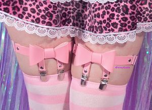 Pink Bow Garters - Pair