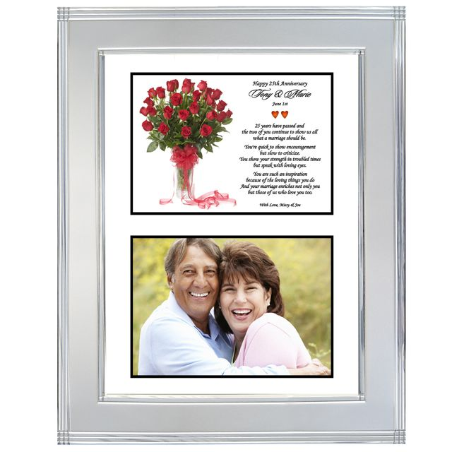 25th Wedding Anniversary Silver Metallic Frame For The Silver