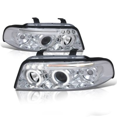 00-01 Audi A4 Euro Style Halo Projector Headlights - Chrome