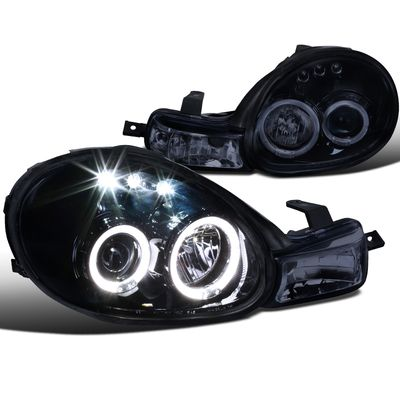 00-02 Dodge Neon Angel Eye Halo / LED DRL Projector Headlights - Glossy Black