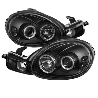 00-02 Dodge Neon Angel Eye Halo & LED Projector Headlights - Black