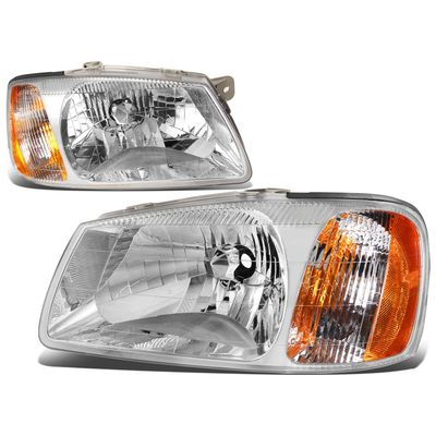 00-02 Hyundai Accent Headlight Assembly (Driver & Passenger Side) - Chrome Amber
