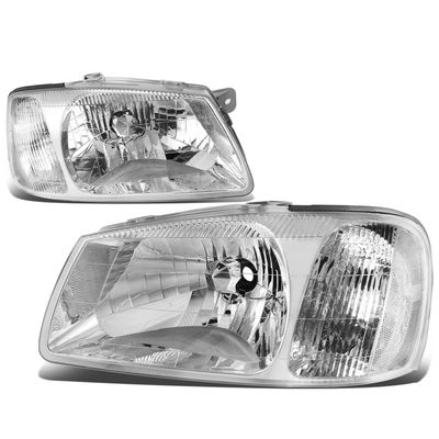 00-02 Hyundai Accent Headlight Assembly (Driver & Passenger Side) - Chrome Clear