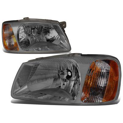 00-02 Hyundai Accent Headlight Assembly (Driver & Passenger Side) - Smoked Amber